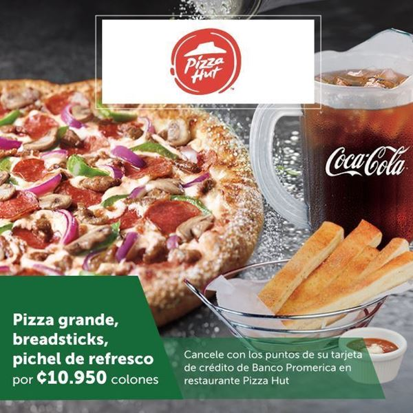 Foto de Pizza grande, breadsticks, refresco por ¢10.950 en Pizza Hut