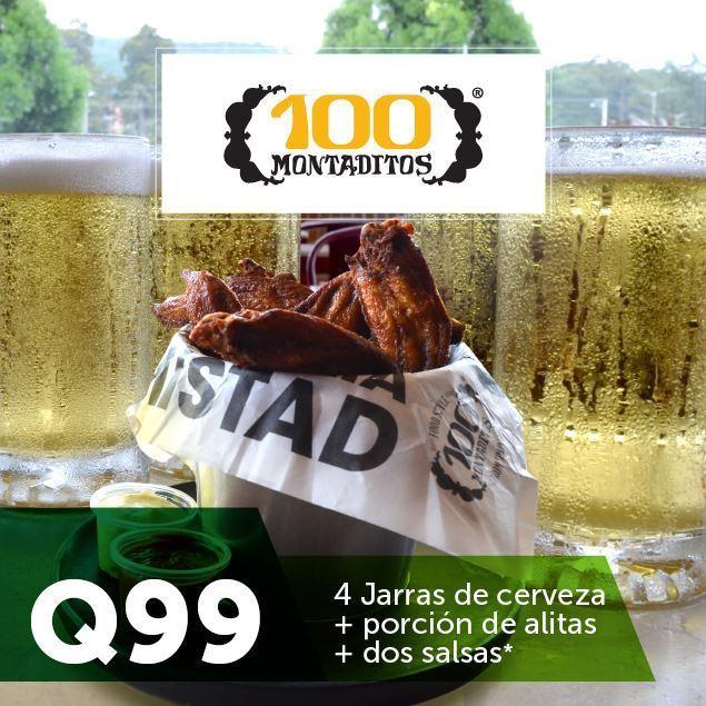 Foto de 4 Jarras de cerveza + alitas por Q99 en 100 Montaditos