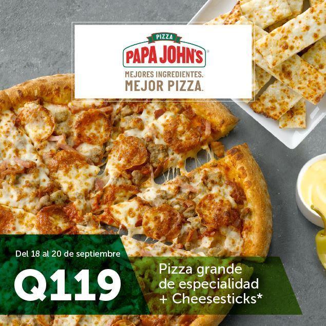 Foto de Pizza grande de especialidad + Cheesesticks por Q119 en PAPA JOHN'S