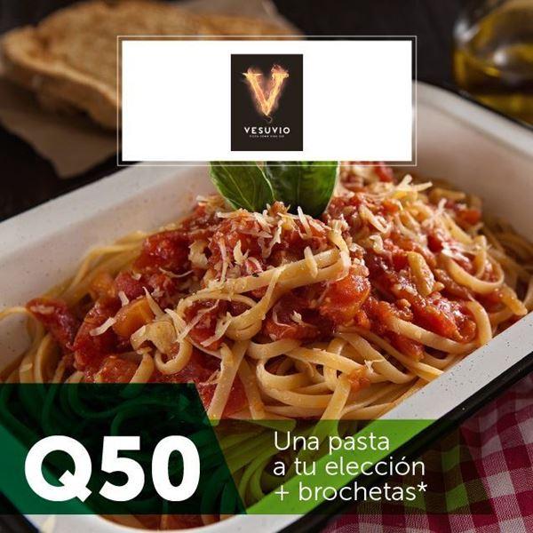 Foto de Una pasta a tu elección + brochetas  en Vesuvio por Q50