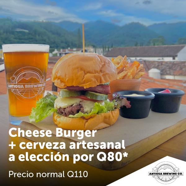 Foto de Cheese Burger + cerveza artesanal a elección por Q80 en Antigua Brewing Co.